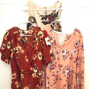 Fall/Autumn Colored Dresses Lot- 3 pieces